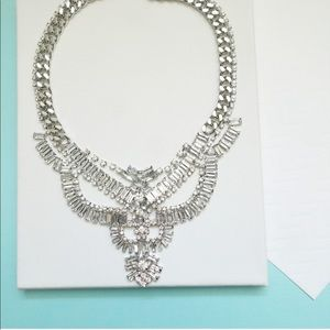 Silver Chain and Crystal Chandelier Bib Necklace